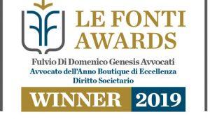 Fulvio di Domenico Genesis Avvocati | Avvocato dell'anno Diritto Societario Le Fonti AWARDS